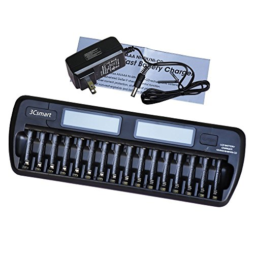 3Csmart 16-Bay/Slot Auto-detect AA/AAA NIMH/NICD Rechargeable Batteries LCD Intelligent Battery Charger by 3Csmart