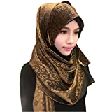Ababalaya Womens' Leopard Gold Glitter Hijab Muslim Head Wrap Scarf Shawl, Brown