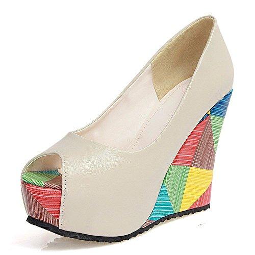 LongFengMa Women's Fashion Wedge Heeled Pumps Peep Toe Platform Multicolor Slip On Shoes Beige