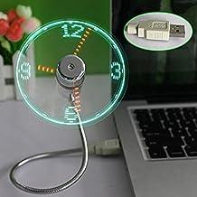 Auko Mini LED USB Fan Clock Flexible Time with LED Light,1PC