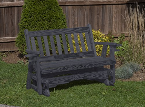 Amish Heavy Duty 800 Lb Mission Pressure Treated Porch Patio Garden Lawn Outdoor Glider with Cup Holders-4 Feet-Black-Made in USA