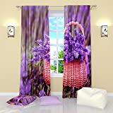 Violet Curtains by Factory4me Basket with a lavender. Window Curtain Set of 2 Panels Each W42 x L84 Total W84 x L84 inches Drapes for Living Room Bedroom Kitchen Review