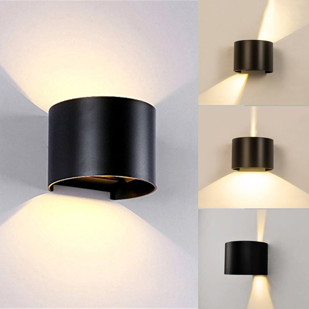 Lianqi 7W LED Aluminum Wall Sconce IP54 Waterproof Wall Light up and Down Design for Outdoors Garden Hotel Gallery Park Outside Decoration (Black,Warm White)