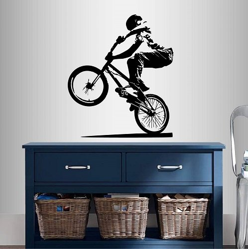 Cheap  Wall Vinyl Decal Home Decor Art Sticker BMX Cyclist Jump Bicycle Extreme..