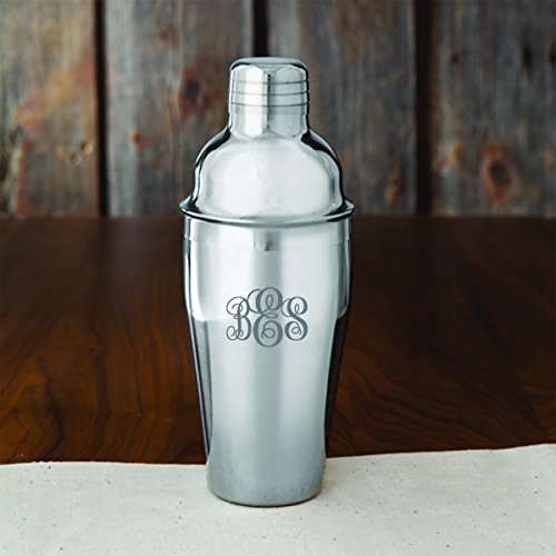 Personalized Cocktail Shaker - Monogrammed Cocktail Shaker - Custom Cocktail Shaker - Interlocking Monogram ()