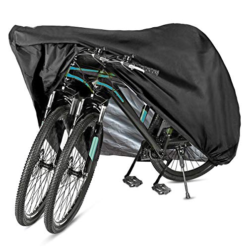 GES Bike Cover for 2 or 3 Bikes, XL Waterproof Outdoor Bicycle Cover Oxford Fabric Storage Rain Sun UV Dust Wind Proof Motorcycle Covers for Mountain Road Electric Bike Tricycle Cruiser (XL)