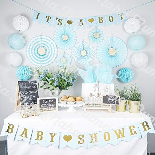 Boy Baby Shower Decorations for Boy | Its a Boy Baby Shower Party Supplies | 35pc Blue and Gold Baby Boy Shower Decorations | Baby Shower Boy | Baby Shower Decor | Elephant ()