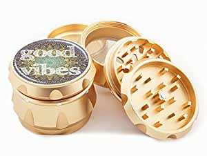 "Good Vibes Mandala Gold Grinder 2.25"" Wide 4 Piece Diamond Cut Blades Herb Grinders Golden Case Hand Crusher Cute Floral Shapes Art"