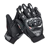 Wonzone Motorcycle gloves Full finger for Road Racing Bike Summer Spring Powersports Racing MTB BMX ATV Off-Road Sports Gloves (Black, X-Large)