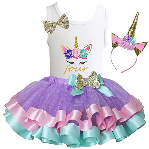 Kirei Sui Girls Lavender Pastel Satin Trimmed Tutu Birthday Unicorn S Four]()