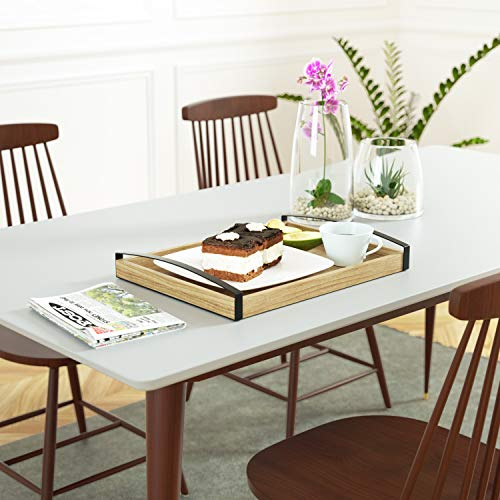 Love-KANKEI Wood Serving Tray with Metal Handle - Rectangle Breakfast Tray for Bed Ottoman Dinner Party 16 x 12 inch by Love-KANKEI (Image #1)