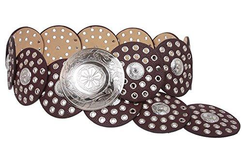 Silver Link Concho Belt (MONIQUE Women Shining Silver Versatile Boho Disc Concho Leather Link 90mm Belt,Brown S - 39 END-TO-END)