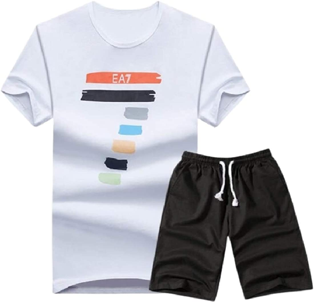 SHOWNO Mens Two Pieces Short Sleeve T-Shirts and Athletic Shorts Sweatsuit Set