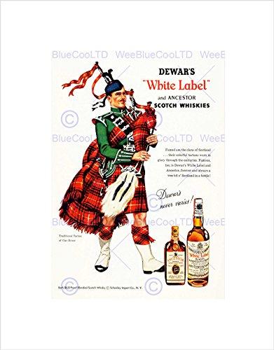 VINTAGE AD WHISKY ALCOHOL DEWAR'S WHITE SCOTCH TARTAN FRAMED PRINT B12X11464
