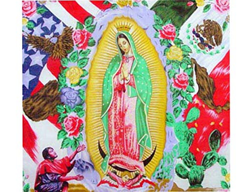 BUNFIREs Madonna Guadalupe Bandana w/American and Mexican Flags Bandanas