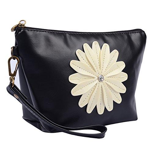 8-inch Lady's Cosmetic Bag, Zipper Make up Pu Leather Daisy Travel Organizer Storage Handbag (Black)
