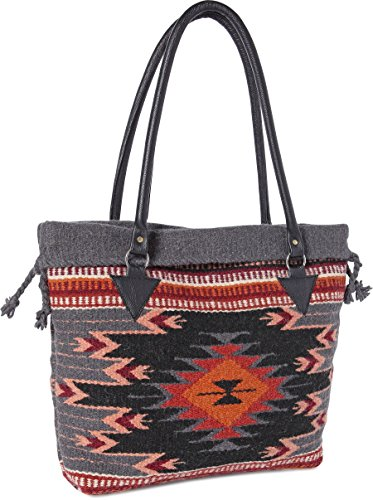(Handwoven Wool Malibu Purse with Genuine Leather handles. Large Eco Friendly Tote Bag, Native American Styles ((J) Black Flower))