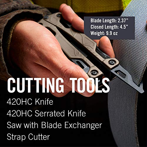 LEATHERMAN - OHT One Handed Multitool with Spring-loaded Pliers and Strap Cutter, Coyote Tan with MOLLE Black Sheath