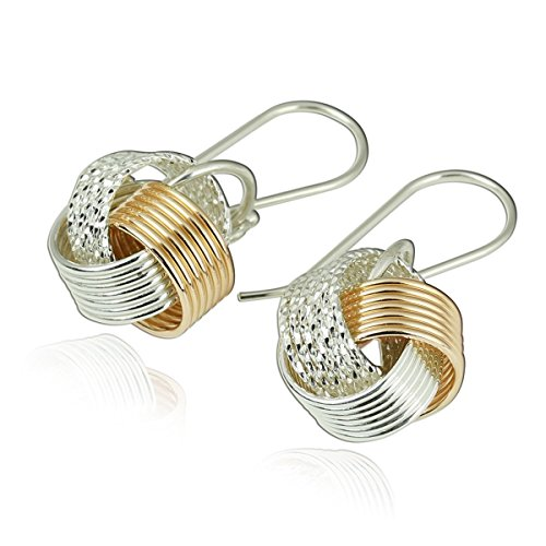 Two Tone Love Knot Earrings in 925 Sterling Silver and 14k Gold Filled Unique Artisan Design