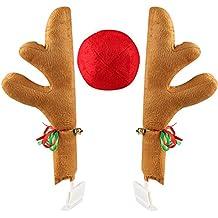 "Coogam Christmas Reindeer Antler and Nose Vehicle Costume - Rudolf Red Nose Elk Moose Holiday Xmas Decoration for Car Truck (17"")"