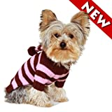 Size #14, Brown and Pink Stripe, Designer Dog Hoodie Sweater, Casual and Stylish, My Pet Supplies