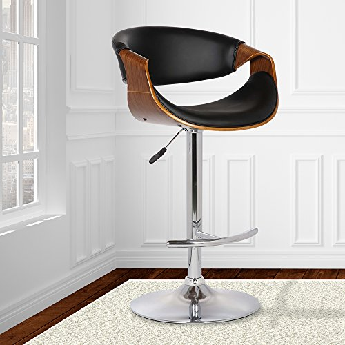 Armen Living LCBUBAWABL Butterfly Swivel Adjustable Barstool in Black Faux Leather and Walnut Wood Finish ()
