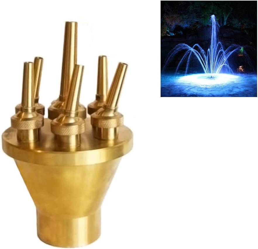 "NAVADEAL 1 1/2"" DN40 Brass Lotus Water Fountain Nozzle Spray Pond Sprinkler - for Garden Pond, Amusement Park, Museum, Library"