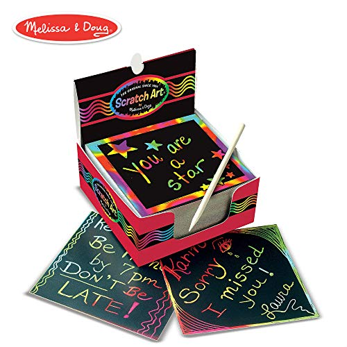 (Melissa & Doug Scratch Art Box of Rainbow Mini Notes, Arts & Crafts, Wooden Stylus, 125 Count, 3.75