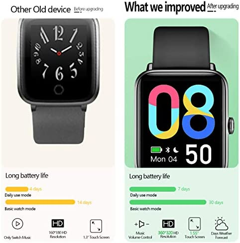 """Smart Watch, Dirrelo Fitness Tracker Heart Rate Monitor, Blood Oxygen/Sleep Monitor with 1.55"""" Touch Screen, Step Counter, IP68 Waterproof Pedometer Calorie Counter Watch Men Women, Android iPhones 3"""