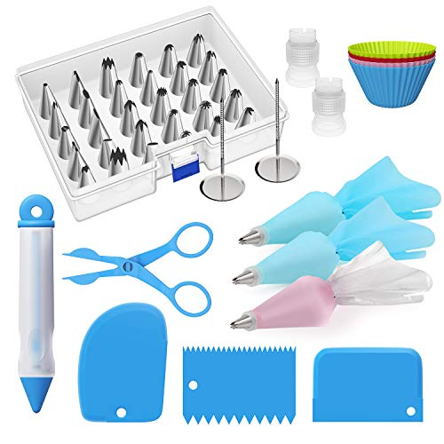 Ouddy 56-Piece Cake Decorating Supplies Set - Cupcake Decorating Kit with 30 Icing Tips and 12 Pastry Bags - Baking Supplies and Frosting Tools Set for Cupcakes Cookies Decoration