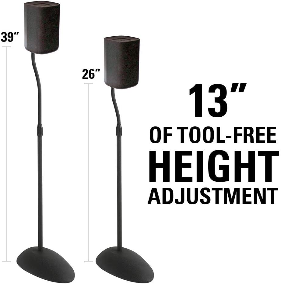 Sanus Home Theater Series Adjustable Height Speakers Stands for Satellite Speakers – Tear Drop Base – 26 -39 Height – HTB3 Black