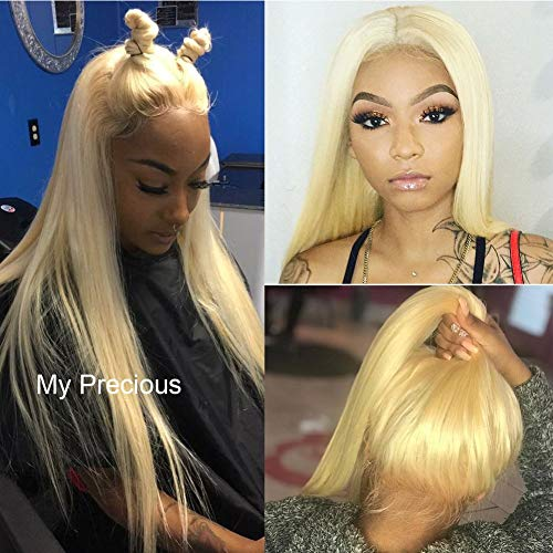 My Precious Long Straight Blonde Wig #613 Hair Synthetic Lace Front Wig for Women Half Hand Tied (Its A Wig Synthetic Lace Full Wig Sun)