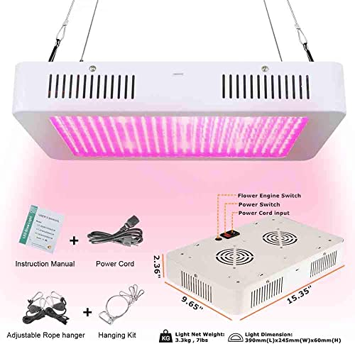 Kroxmind 1000W LED Grow Light with Adjustable Light Intensity, Full Spectrum COB LED Grow Light for Indoor Plants Flowers Greenhouse 1000W