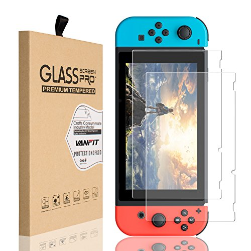 VANFIT For Nintendo Switch Screen Protector Glass, HD Ultra-thin Tempered Glass Screen Protector for Nintendo Switch 2017 - ()