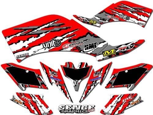 Senge Graphics Kit compatible with Yamaha 2003-2008 YFZ 450 Steel Frame Shredder Black Graphics Kit with art filled number plates
