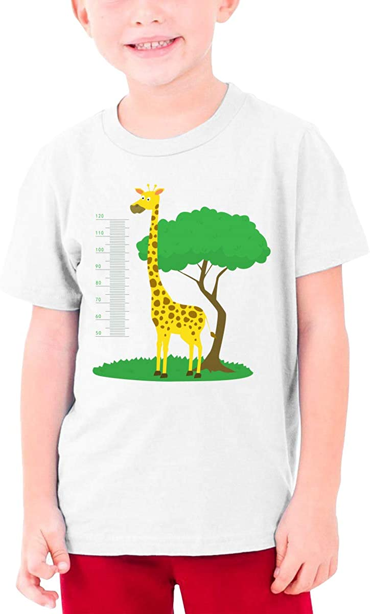 Youth Graphic Tshirts Teenage Boys Girls Short Sleeve T-Shirt Cartoon-Meter-Wall-with-Giraffe-and-Tree T Shirt Tees