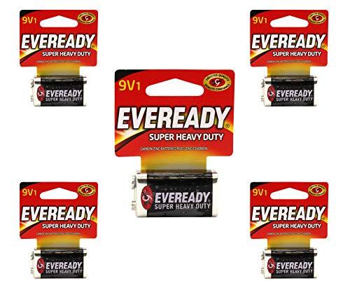 Eveready 9V Batteries 9 Volt Super Heavy Duty Energizer Carbon Zinc 12/2019 (5 Batteries)