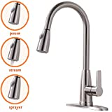 Brushed Nickel Faucets Kitchen Hotis Best Contemporary High Arch Single Handle Pull Out Single Lever Prep Sink Stainless Steel Pull Down Sprayer Kitchen Faucet,Brushed Nickel Kitchen Sink Faucet