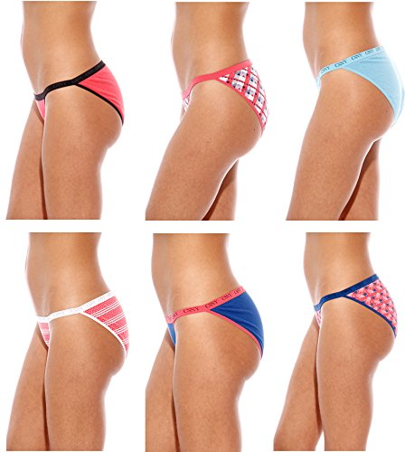 Christian siriano nueva york algodón bragas/Bikini ropa interior (Pack de 6) String Bikini