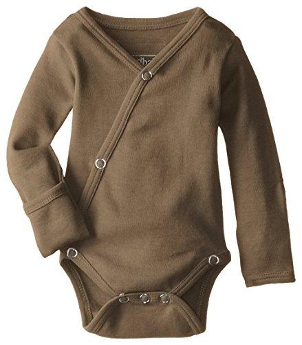 (L'ovedbaby Unisex-Baby Organic Cotton Kimono Long Sleeve Bodysuit, Bark, 0/3)