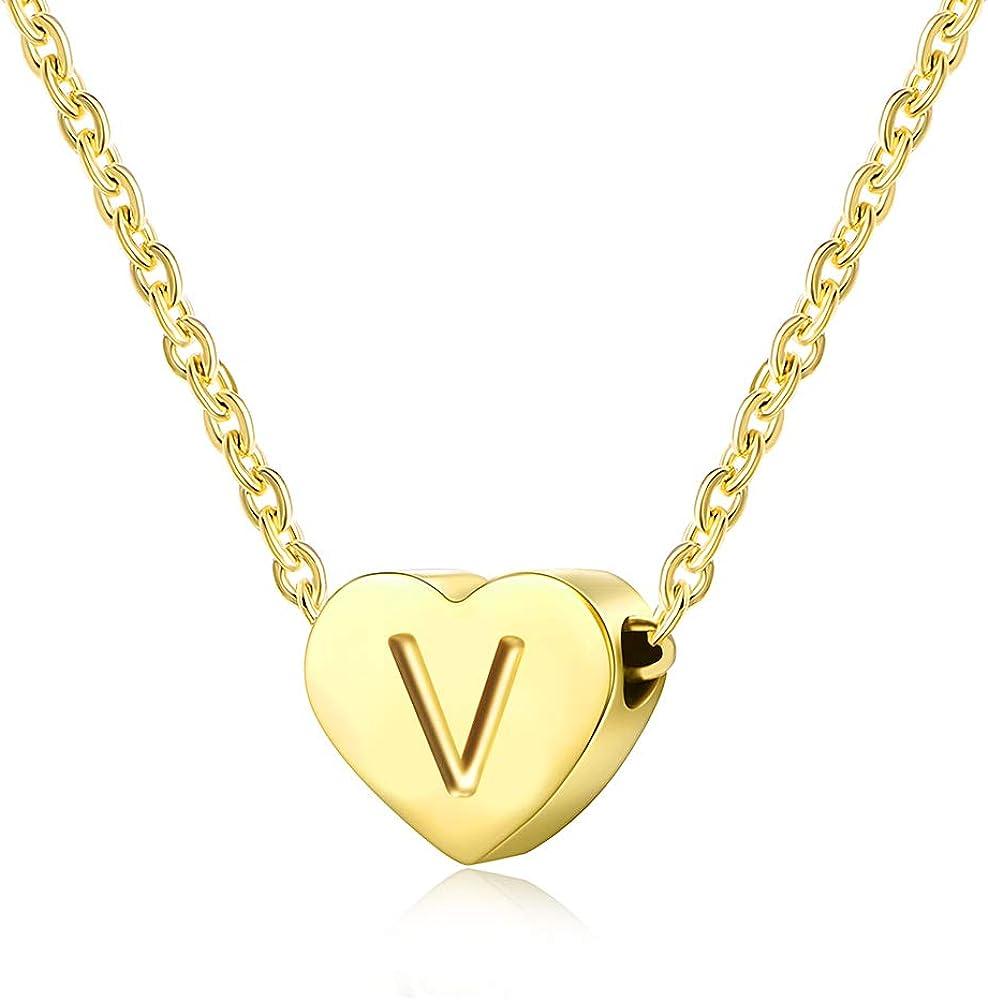 AFSTALR Corazón Letras Collar para Mujeres Niñas Inicial Alfabeto corazón Colgante Collar de Oro Delicado Collar Personalizado