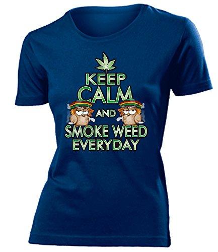 Drogen - KEEP CALM AND SMOKE WEED EVERYDAY - Cooles Fun mujer camiseta Tamaño S to XXL varios colores Marina