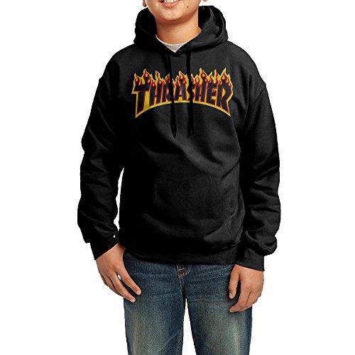 Kid's Youth Thrasher Magazine Flame Logo Hoodies Pullover Hooded Sweatshirts XL -