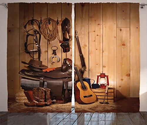 Ambesonne Western Decor Curtains by, American Texas Style Country Music Guitar Cowboy Boots USA Folk Culture, Living Room Bedroom Window Drapes 2 Panel Set, 108 W X 84 L Inches, Sand Brown Chocolate