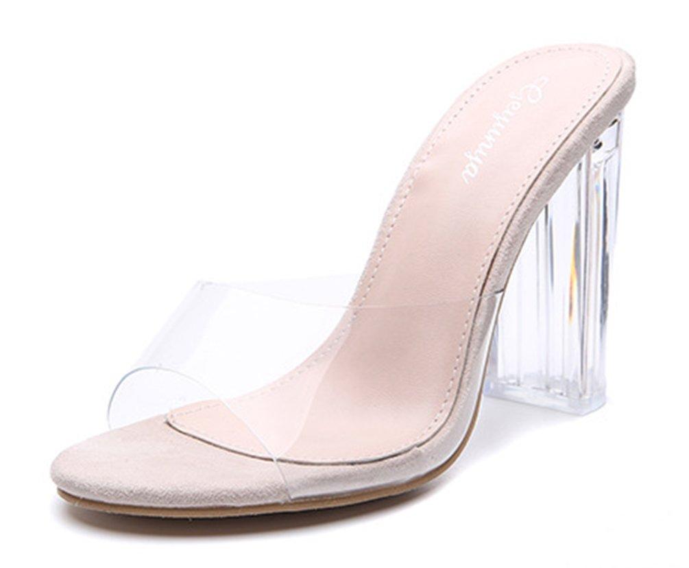 SHOWHOW Damen Elegant Durchsichtig Offen Zehen Mules mit Plexi-Absatz