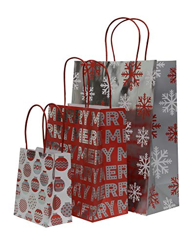 Christmas Gift Bags with Metallic foil Finish, Red, White and Silver, Large, Petite Medium and Extra Small Variety Pack, 4 Bags in Each Size (Set of 12 Bags)