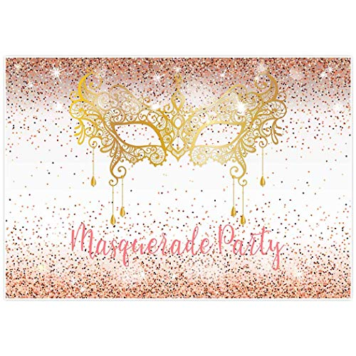 Allenjoy 7x5ft Masquerade Night Backdrop Gold Golden Glitter Mask Mardi Gras Carnival Prom Background Backdrops Happy Birthday Party Decor Decoation Banner Photo Booth ()