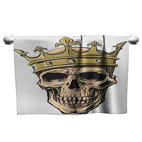(xixiBO Soft Towel W35 x L12 King,Dead Skull Skeleton Head with Royal Crown Tiara in Hand Drawn Style Image, Golden and Pale Brown Quality Bath Towel)