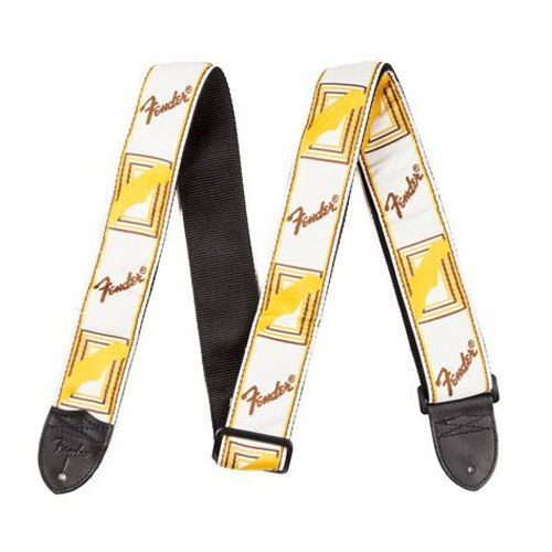 Fender 2 Inch Monogrammed Strap, White/brown/yellow Electric