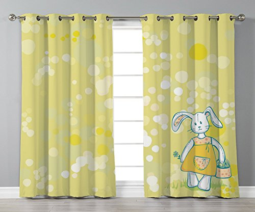 iPrint Stylish Window Curtains,Kids,Summertime Colors and Cute Toy Bunny with Flower Basket Cartoon Drawing Style,Yellow Teal White,2 Panel Set Window Drapes,for Living Room Bedroom Kitchen -